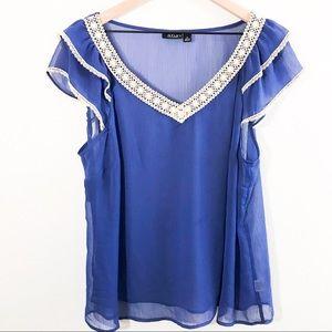 Plus Size Blue Lace Sheer Blouse Size 1x
